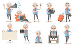 Elderly poses. Elderly female poses And emotion in casual clothes in different . Speak amplifier, Sleeping, read, Selfie, finger up, piggy bank, Travel luggage stock illustration