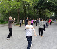 Elderly practicing tai-chi exercise in the mornin. G in amoy city,china royalty free stock image