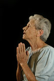 Elderly Praying Caucasian Woman royalty free stock photos
