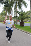 Elderly preparing for the  2014 xiamen marathon race Stock Photo