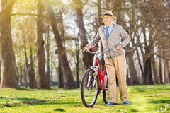 An elderly pushing his bike in the park Royalty Free Stock Images