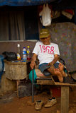 Elderly residnet man of the train track slums of central Jakarta Royalty Free Stock Image