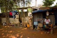 Elderly residnet man of the train track slums of central Jakarta Stock Image