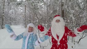 Santa and granddaughter in the snow-covered forest. Accelerated video. An elderly Santa with a white beard and a beautiful granddaughter are making fun of the stock footage