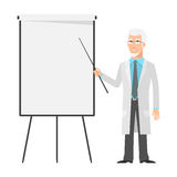 Elderly scientist points to flip chart Stock Image