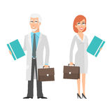 Elderly scientist and young woman holding suitcase Royalty Free Stock Image
