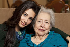 Elderly Senior Grandmother And Granddaughter Stock Photo
