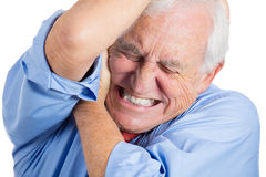 Elderly, senior, mature man in great excruciating pain Royalty Free Stock Photography