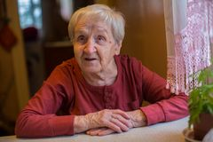 Elderly senior woman sitting at the table. Portrait. Stock Images