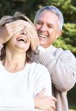 Elderly seniors couple. Happy elderly seniors couple in park stock images