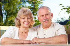 Elderly seniors couple Stock Images