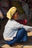 Elderly Shan woman smokes her cheroot Royalty Free Stock Photo