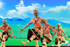 Elderly show the taiwan gaoshan nationality dance Royalty Free Stock Image