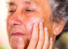 Elderly skin care Royalty Free Stock Images