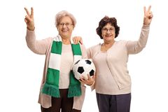 Elderly soccer fans making victory gestures. Isolated on white background Royalty Free Stock Photo
