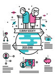 Elderly Society info graphics and icons. Royalty Free Stock Photo