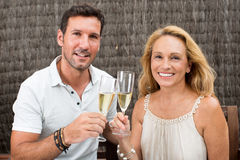 Elderly son with mother. In garden drinking champagne Stock Photos