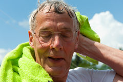 Elderly sportsman Stock Images