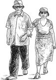 The elderly spouses go on a stroll. Vector drawing of the couple of elderly townspeople go on a walk Royalty Free Stock Photos