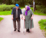 Elderly spouses on walk in the park. Elderly people with canes in the park Royalty Free Stock Image