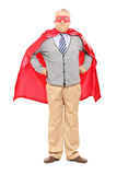 Elderly in superhero costume Royalty Free Stock Photography