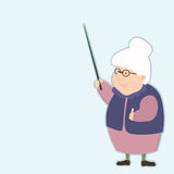 Elderly teacher with a pointer gives advice about life Royalty Free Stock Photo