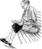 Elderly teacher. Vector drawing of the elderly woman resting in the city park vector illustration