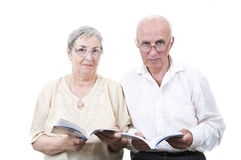 Elderly teachers with books Stock Photos