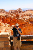 Elderly tourist in Bryce Canyon National Park Stock Image