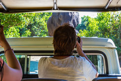 Elderly tourist woman takes pictures of elephant Royalty Free Stock Image