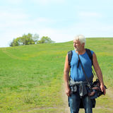 Elderly travel photographer. On the nature Stock Images