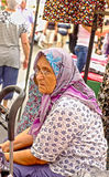 Elderly Turkish woman resting Royalty Free Stock Photo