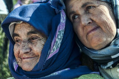 Elderly Turkish women. Two elderly Turkish women with melancholy expressions Stock Photos