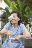 Elderly use eye shield covering after cataract surgery. royalty free stock photos