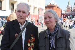 Elderly Veterans of War in the centre of Moscow Royalty Free Stock Photography