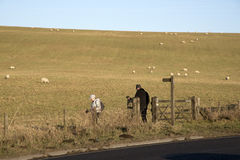 Elderly walkers walk in the English countryside Stock Photos