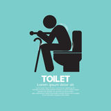 Elderly With Walking Stick Toilet Sign Royalty Free Stock Photos