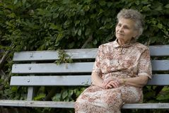 Elderly woman. Portrait of the elderly woman outdoors Royalty Free Stock Images
