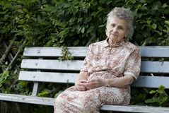 Elderly woman. Portrait of the elderly woman outdoors Royalty Free Stock Photography