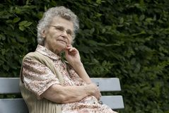 Elderly woman. Portrait of the elderly woman outdoors Royalty Free Stock Photos