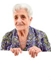 Elderly woman. The elderly woman isolated on white background Royalty Free Stock Photography