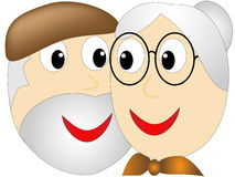 Elderly woman adoringly stared into the eyes of an older bearded man Stock Image