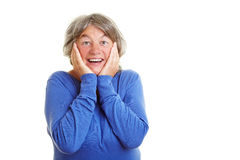 Elderly woman in amazement stock image