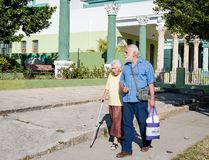 Elderly Woman On Assisted Walk Stock Photos