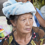 Elderly woman, Bali royalty free stock photo