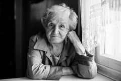 An elderly woman black and white portrait Stock Image