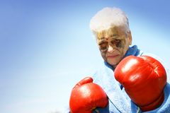 Elderly woman boxer Stock Photography