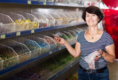 Elderly woman buying candies Royalty Free Stock Photography