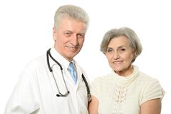 Elderly woman came to the doctor Royalty Free Stock Photography