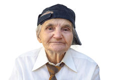Elderly woman with cap. Royalty Free Stock Photo